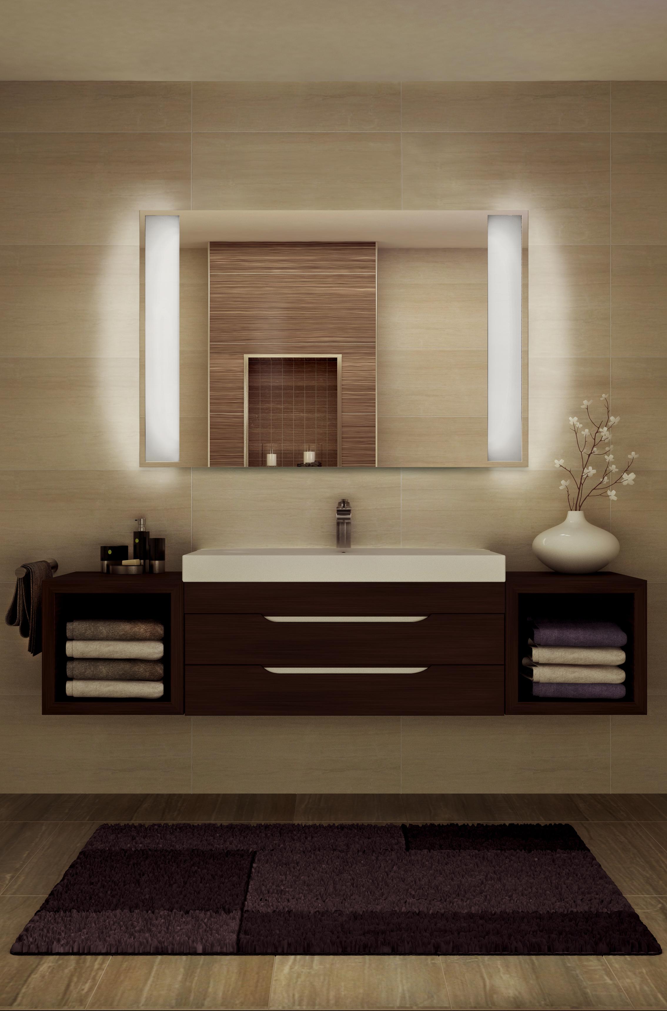 Varme på bad med speil med lys i