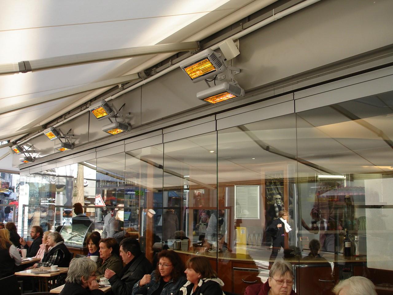 Terrassevarmere som varmer folk på restaurant